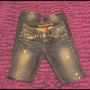Blue Denim Bootcut Jeans By Guess